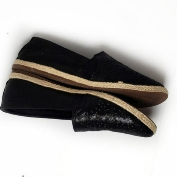 Report Shoes - Report Shiny Black Rope Trim Flats Size 8 1/2